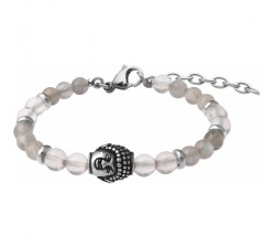 Bracelet STILIVITA en acier - Collection Médecine douce - ACUITÉ MENTALE - labradorite - cristal de roche - bouddha - SI 370