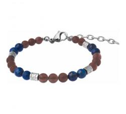 Bracelet STILIVITA en acier - Collection Médecine douce - MAUX DE DOS - quartz fumé - lapis lazuli - SI 371