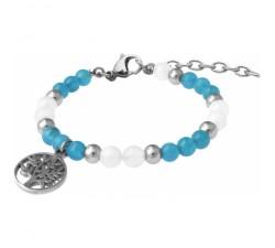 Bracelet STILIVITA en acier - Collection Médecine douce - COUPE FAIM - apatite - pierre de lune - arbre de vie - SI 372
