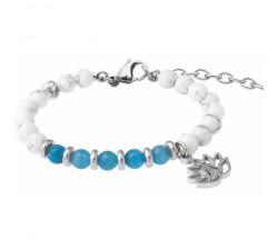 Bracelet STILIVITA en acier - Collection Médecine douce - PERTE DE POIDS FEMME - apatite - howlite blanche - lotus - SI 373