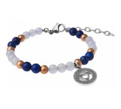 Bracelet STILIVITA en acier - Collection Médecine douce - THYROIDE - lapis lazuli - calcédoine - chakra gorge - SI 374