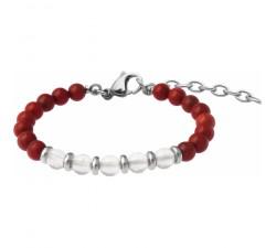 Bracelet STILIVITA en acier - Collection Médecine douce - CIRCULATION SANGUINE - jaspe rouge - cristal de roche - SI 375