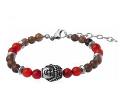 Bracelet STILIVITA en acier - Collection Médecine douce - LIBIDO HOMME - cornaline - quartz fumé - bouddha - SI 376