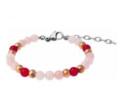 Bracelet STILIVITA en acier - Collection Médecine douce - LIBIDO FEMME - quartz rose - cornaline - SI 377