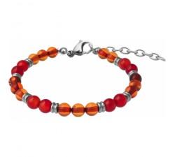 Bracelet STILIVITA en acier - Collection Médecine douce - ANTI-ALLERGIES - ambre - cornaline - SI 378