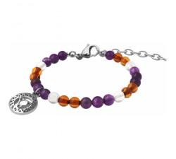 Bracelet STILIVITA en acier-Collection Médecine douce-AUTO GUÉRISON-améthyste-cristal de roche - ambre - chakra gorge - SI 379