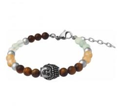 Bracelet STILIVITA en acier - Collection Médecine douce - RÉGÉNÉRATION - citrine - fluorite - œil de tigre - bouddha - SI 380
