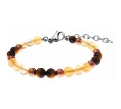 Bracelet STILIVITA en acier - Collection équilibre - CHANCE & ABONDANCE - citrine - œil de tigre - SI 382