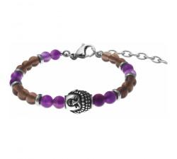 Bracelet STILIVITA en acier - Collection Médecine douce - ANTI-ADDICTIONS - améthyste - quartz fumé - SI 383