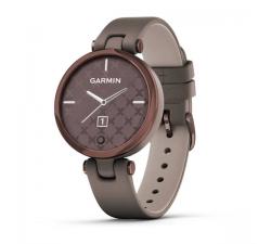 Montre Garmin Lily™ Lunette Bronze avec boîtier Paloma et bracelet en cuir Italien gris taupe 010-02384-B0