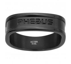 Bague acier PVD noir PHEBUS FOR HIM 15-0358
