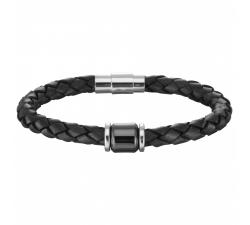 Bracelet acier, cuir et céramique PHEBUS FOR HIM 35-0747-N