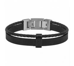 Bracelet acier, cuir nubuck noir PHEBUS FOR HIM 35-0978