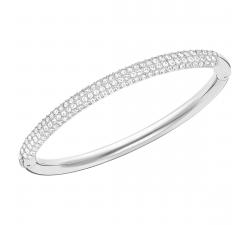 Bracelet-jonc Stone Blanc, Métal rhodié Swarovski 5032846
