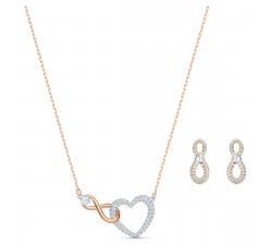 Parure collier et boucles d'oreilles Infinity Heart blanc, finition mix de métal Swarovski 5521040