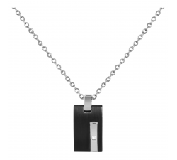 Collier acier avec 1 diamant PHEBUS FOR HIM 72-0058