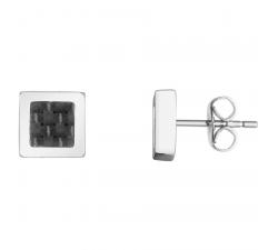 Boucles d'oreilles acier et carbone noir PHEBUS FOR HIM 87-0001-N