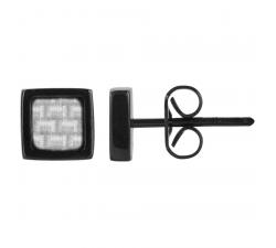 Boucles d'oreilles acier PVD noir et carbone gris PHEBUS FOR HIM 87-0012