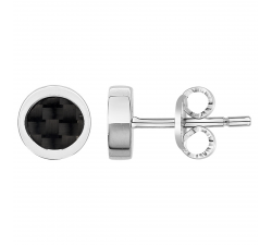 Boucles d'oreilles acier et carbone noir PHEBUS FOR HIM 87-0018
