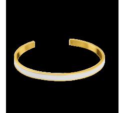 Bracelet jonc femme Symphony Acier doré jaune Pierre Lannier Blanc BJ04A5218