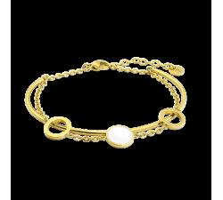Bracelet femme Symphony Acier doré jaune Pierre Lannier Blanc BJ04A8218