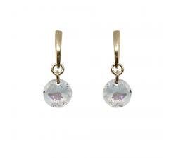Boucles d'oreilles argent 925/1000 plaqué or jaune et éléments de cristaux Indicolite BOPU-SOPHPJ-1SH