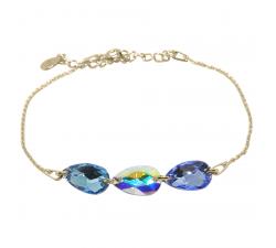 Bracelet argent 925/1000 plaqué or jaune et éléments de cristaux Indicolite BR-3LARMPJ-211