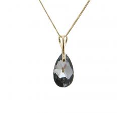 Collier argent 925/1000 plaqué or jaune et éléments de cristaux Indicolite CO-LARMPJ-SINI