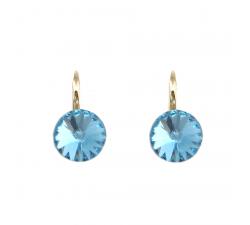 Boucles d'oreilles argent 925/1000 plaqué or jaune et éléments de cristaux Indicolite DO-EMIPJ-202