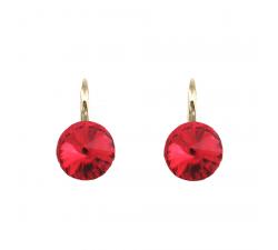 Boucles d'oreilles argent 925/1000 plaqué or jaune et éléments de cristaux Indicolite DO-EMIPJ-227
