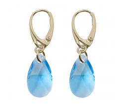 Boucles d'oreilles argent 925/1000 plaqué or jaune et éléments de cristaux Indicolite DO-LARMPJ-202