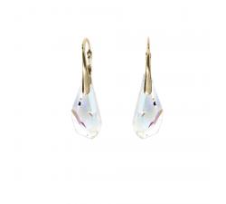 Boucles d'oreilles argent 925/1000 plaqué or jaune et éléments de cristaux Indicolite DO-POLYPJ-1AB