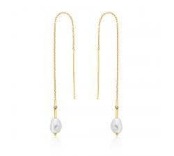 Boucles d'oreilles femme argent 925/1000 doré Ania Haie Pearl off Wisdom E019-01G