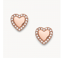 Boucles d'oreilles femme chaîne coeur je t'aime FOSSIL JF03364791