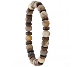 Bracelet élastique en bois de coco et de chêne avec des pierres de jaspe mat GREENTIME ZWM004