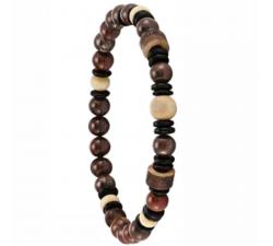 Bracelet élastique en bois de coco et de chêne avec des pierres d'oeil de tigre rouge GREENTIME ZWM005