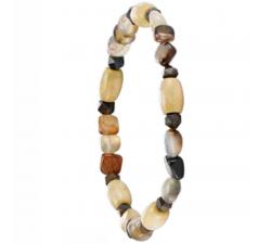 Bracelet élastique en bois de coco avec des pierres d'agates striées GREENTIME ZWM006