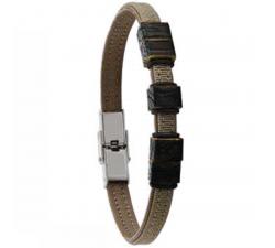Bracelet en cuir et tissu et bois de chêne GREENTIME ZWM018