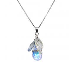 Collier argent 925/1000 et éléments de cristaux Indicolite CO-FLEUR-001AB