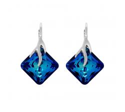 Boucles d'oreilles argent 925/1000 et éléments de cristaux Indicolite DO-AGATH-BBL