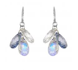 Boucles d'oreilles argent 925/1000 et éléments de cristaux Indicolite DO-FLEUR-001AB