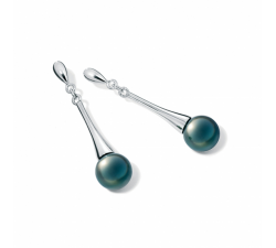 Boucles d'oreilles pendantes Epure argent 925/1000 et perles de Tahiti IZA B EP-028-BO