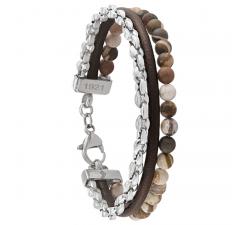 Bracelet Fusion cuir, acier et pierres naturelles JOURDAN JH150003B