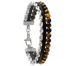 Bracelet Fusion cuir, acier et pierres naturelles JOURDAN JH150004B