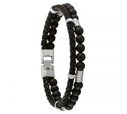 Bracelet Tauri cuir, acier et onyx JOURDAN JH160020B