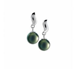 Boucles d'oreilles pendantes Lagune argent 925/1000 et perles de Tahiti IZA B NI-041-BO