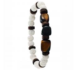 Bracelet élastique en bois de coco, pierre de lave blanche et oeil de tigre naturel GREENTIME ZWM010