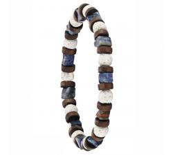 Bracelet élastique en bois de coco, pierre de lave blanche et lapis lazuli GREENTIME ZWM012