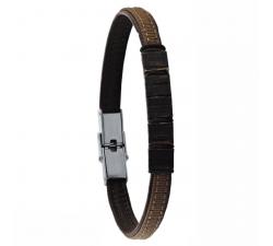 Bracelet en cuir et tissu et bois de chêne GREENTIME ZWM019