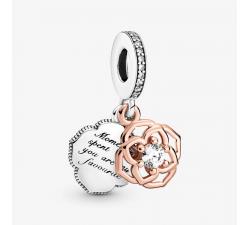 Charm Pendant Rose Bicolore Argent 925/1000 et Pandora rose, PANDORA 789373C01
